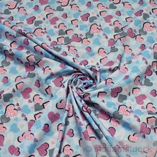 Stoff Kinderstoff Baumwolle hellblau Herzchen Herz Baumwollstoff