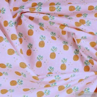 Stoff Kinderstoff Baumwolle rosa Ananas Baumwollstoff leicht weich