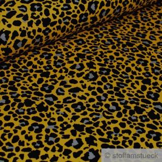 0, 5 Meter Stoff Baumwolle Elastan Single Jersey ocker Leopard angeraut
