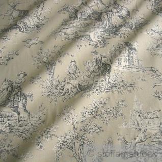 Stoff Baumwolle Rips beige Toile de Jouy Jagd schwarz 280 cm breit
