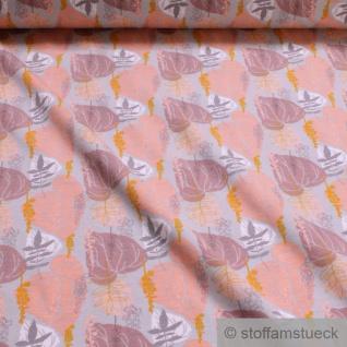 Stoff Baumwolle Elastan Single Jersey hellgrau Blatt Blätter - Vorschau 1