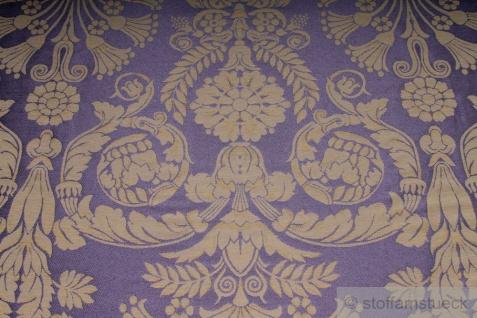 Stoff Polyester Baumwolle Jacquard Ornament klein taupe gold 280 cm breit lila - Vorschau 2