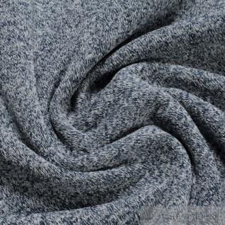Stoff Polyester Single Jersey angeraut marine weiß Alpenfleece weich blau