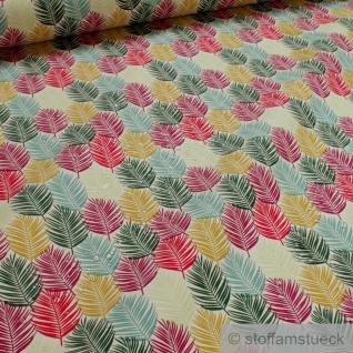 Stoff Dralon® ecru Palmblätter bunt wasserabweisend outdoor Teflon® beschichtet