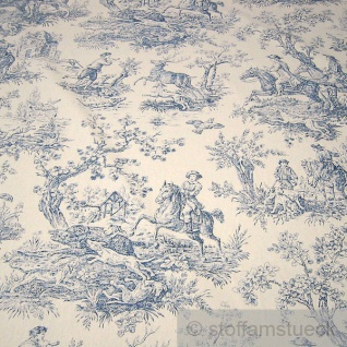 Stoff Baumwolle Rips Toile de Jouy Jagd ecru blau 280 cm breit überbreit