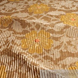Stoff Seide Leinen Polyacryl beige champagner Blume Wellenoptik blickdicht