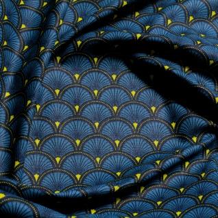 Stoff Baumwolle Popeline Welle petrol japanisches Muster Seigaiha Fächer blau