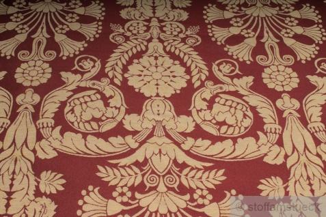 Stoff Polyester Baumwolle Jacquard Ornament bordeaux gold 280 cm breit - Vorschau 2