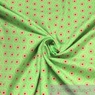 2 Meter Stoff Baumwolle hellgrün Prilblume rosa Baumwollstoff Blume
