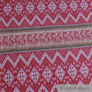 0, 5 Meter Stoff Recycelt Baumwolle Polyester Elastan Jacquard Jersey Zickzack rot - Vorschau 2