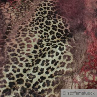 Stoff Polyester Interlock Jersey Tierprint Leopard samtig weich - Vorschau 3