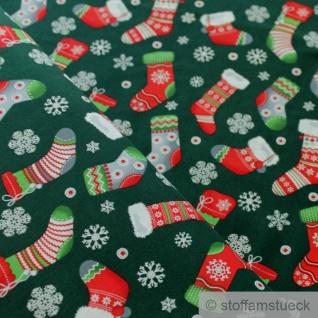 Stoff Weihnachtsstoff Baumwolle tannengrün Nikolausstiefel Baumwollstoff grün