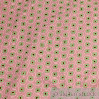 10 Meter Stoff Baumwolle rosa Prilblume hellgrün Baumwollstoff Blume - Vorschau 2