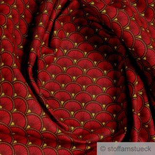 Stoff Baumwolle Popeline Welle kirschrot japanisches Muster Seigaiha Fächer rot