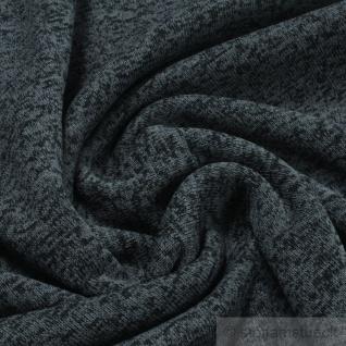 0, 5 Meter Stoff Polyester Single Jersey blaugrau schwarz angeraut Alpenfleece