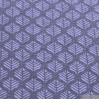 Stoff Baumwolle Elastan Single Jersey Blatt grau hellgrau Blättchen - Vorschau 3