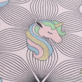 0, 5 Meter Kinderstoff Baumwolle Elastan Single Jersey pastellrosa Einhorn Schwan - Vorschau 4