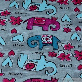 0, 5 Meter Stoff Kinderstoff Baumwolle Elastan Single Jersey hellgrau Elefant - Vorschau 4