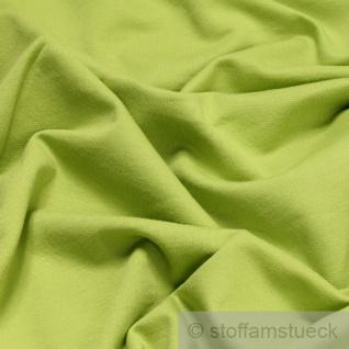0, 5 Meter Stoff Baumwolle Single Jersey kiwi angeraut Sweatshirt weich hellgrün - Vorschau 2