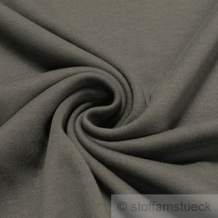 Stoff Baumwolle Interlock Jersey dunkelgrau T-Shirt weich dehnbar mausgrau
