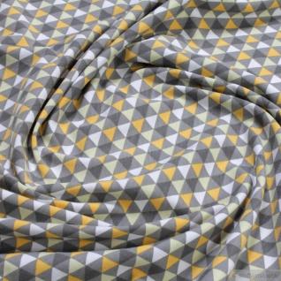 Stoff Baumwolle Elastan Single Jersey Dreieck grau ocker Geometrie multicolour