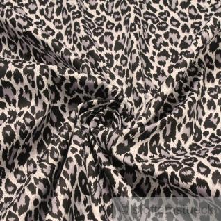 Stoff Baumwolle Lycra Köper grau Leopard Hemd Bluse Rock Animal Print