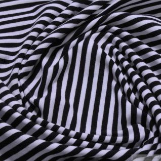 Kinderstoff Baumwolle Lycra Single Jersey Streifen schwarz weiß Ringeljersey