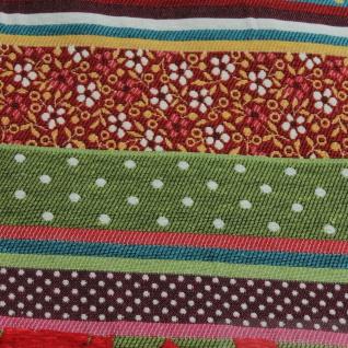 Stoff Baumwolle Jacquard Streifen bunt breit 290 cm breit Punkte Blümchen überbreit