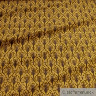 Stoff Baumwolle Elastan Single Jersey ocker Palme Palmwedel