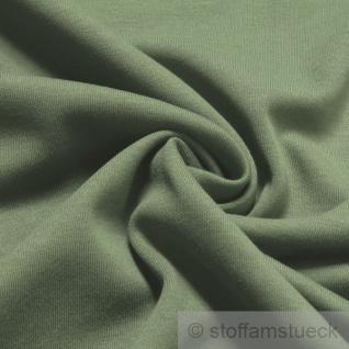 Stoff Baumwolle Interlock Jersey schilfgrün T-Shirt Tricot weich dehnbar