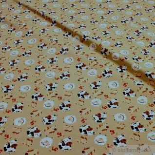Stoff Kinderstoff Baumwolle Elastan Single Jersey beige Kuh Schaf Schwein