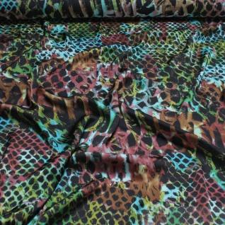 Stoff Polyester Batist Klecks schwarz grün transparent leicht Kleid Schal Tuch