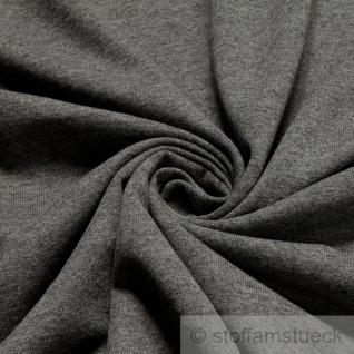 Stoff Baumwolle Polyester Jersey dunkelgrau angeraut Sweatshirt weich dehnbar grau anthrazit