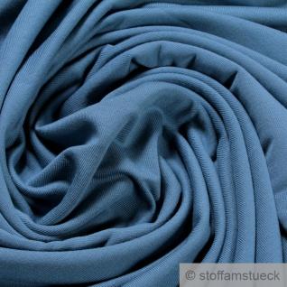 0, 5 Meter Stoff Bambus Elastan Single Jersey French Terry jeansblau atmungsaktiv