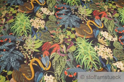 Stoff Baumwolle Satin schwarz Schlange Dschungel Tropen