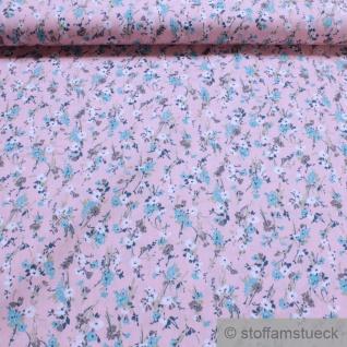 Stoff Baumwolle Popeline rosa Mille Fleurs Baumwollstoff