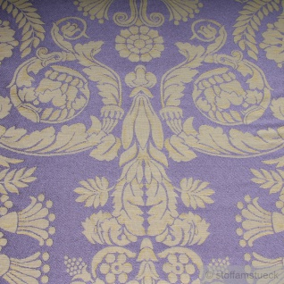 Stoff Polyester Baumwolle Jacquard Ornament klein taupe gold 280 cm breit lila - Vorschau 3