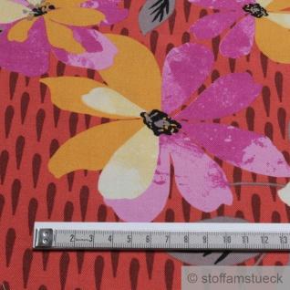 Stoff Viskose Feinköper ziegelrot Blume fließend leicht weich Blumen farbenfroh - Vorschau 3