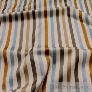 Stoff Viskose Baumwolle Fischgrat Satin Streifen natur blau gold Polster Vorhang