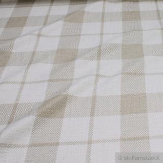 Stoff Baumwolle Viskose Leinen Karo ecru natur Überkaro weich 50.000 Martindale