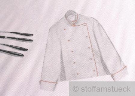 Stoff Polyester Baumwolle Köper Hobbykoch Köchin Kochmütze Kochjacke Gabel Küchenstoff - Vorschau 4