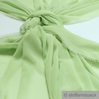 Stoff Polyester Chiffon hellgrün transparent leicht weich fallend