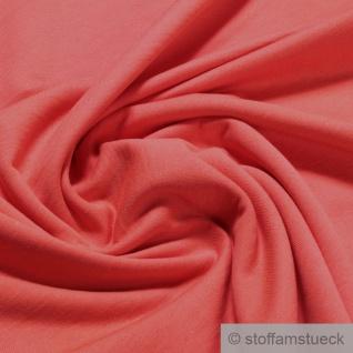 Stoff Baumwolle Single Jersey angeraut koralle Sweatshirt weich dehnbar orange