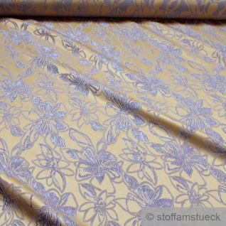 Stoff Polyester Elastan Jacquard gold Blume lila