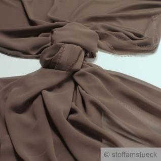 Stoff Polyester Chiffon braun transparent leicht weich fallend