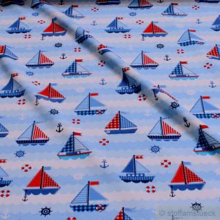 Kinderstoff Baumwolle Lycra Single Jersey weiß Segelboot Anker little Darling