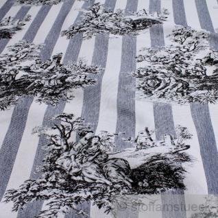 Stoff Baumwolle Polyester Gobelin Toile de Jouy ländlich dunkelblau ecru 280 cm