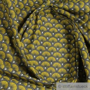 Stoff Baumwolle Popeline Welle gelb japanisches Muster Seigaiha Fächer senf