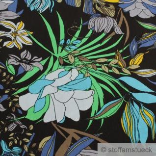 Stoff Viskose schwarz Blume blau fließend leicht weich Blumen farbenfroh - Vorschau 3