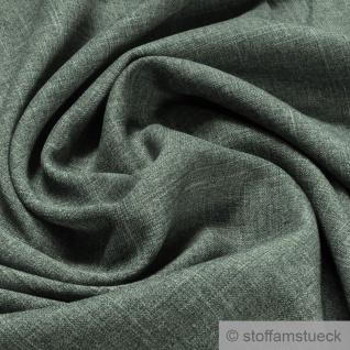 Stoff Polyester Leinwand moosgrün meliert leicht grün knitterfrei